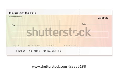 Illustrated bank cheque with room for your own details - stock vector