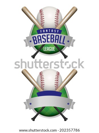 Illustrated baseball emblems. Fantasy Baseball League and plain emblem. Vector EPS file contains transparencies and gradient mesh. - stock vector