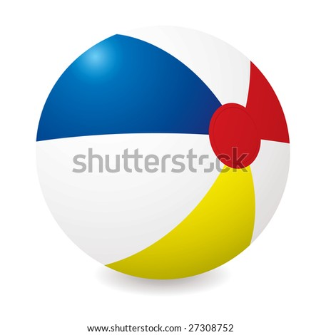 Illustrated beach ball with different colored sections and shadow - stock vector