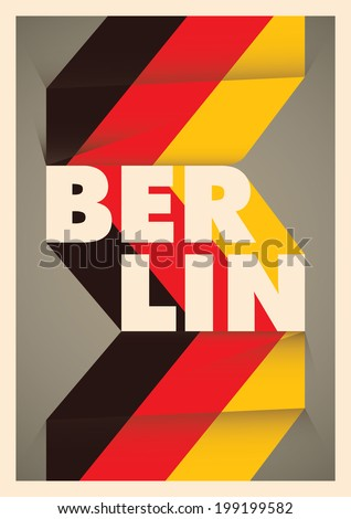 Illustrated Berlin poster with typography. Vector illustration. - stock vector