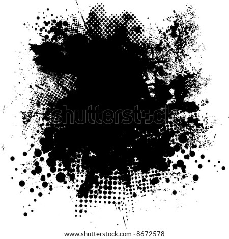 Illustrated black and white ink splat with room for your own text - stock vector