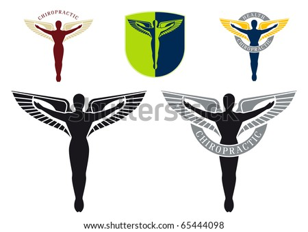 Illustrated caduceus emblem for chiropractic health care - stock vector