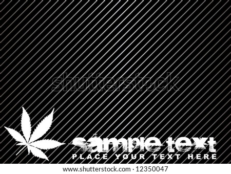Illustrated cannabis background with copyspace in black and silver - stock vector
