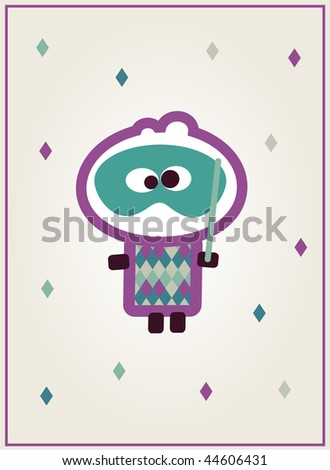 Illustrated card design with tiny dude dressed up for carnival - stock vector