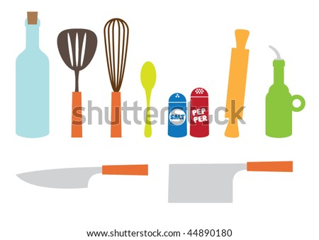 Illustrated cooking utensils