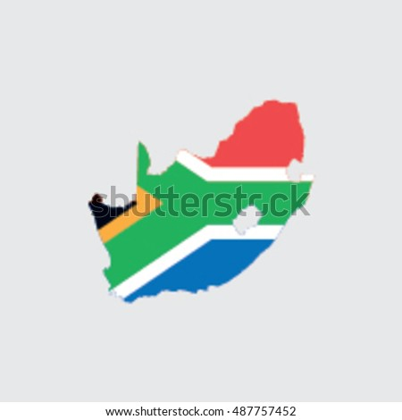 Illustrated Country Shape with the Flag inside of  South Africa