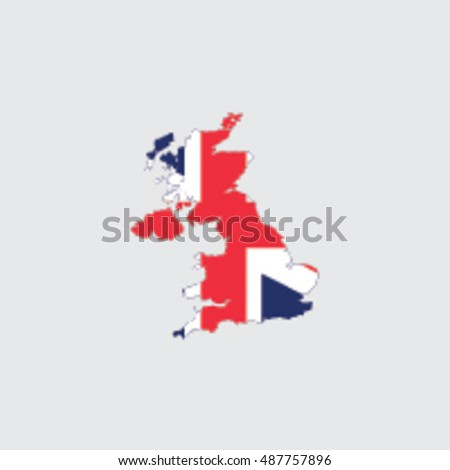 Illustrated Country Shape with the Flag inside of  United Kingdom