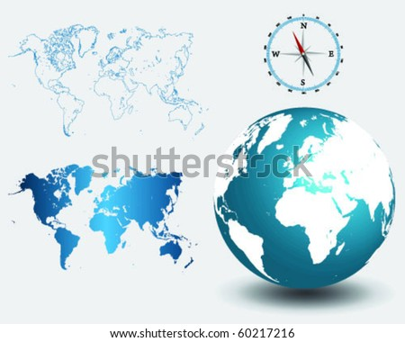 Illustrated detailed world map outlines with compass and globe -vector - stock vector