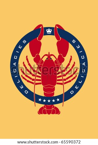 Illustrated emblem showing a lobster representing sea food an delicacies