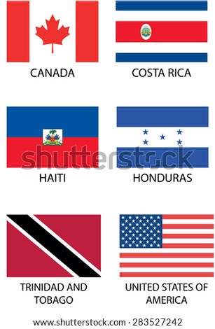 Illustrated Flags from the continent of North America - stock vector