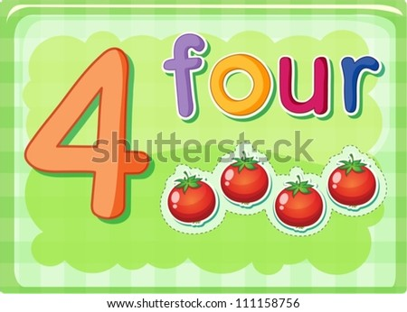 Illustrated flash card showing the number 4 - stock vector