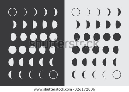 Illustrated Flat Lunar phases - stock vector