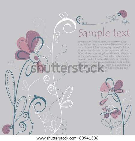 Illustrated Floral Card with Text