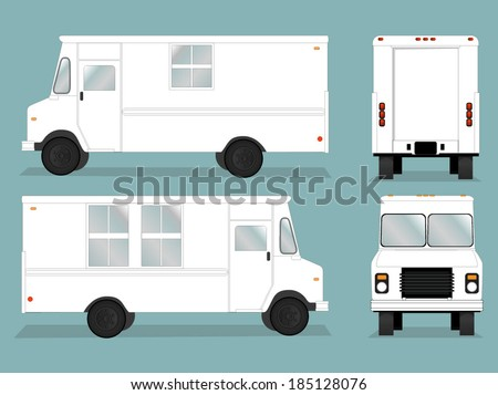 Illustrated food truck graphic with all views/Food Truck Vector Template