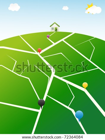 Illustrated gps map with pins - stock vector