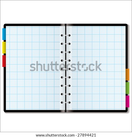 Illustrated graph paper in a note book with colored tabs - stock vector