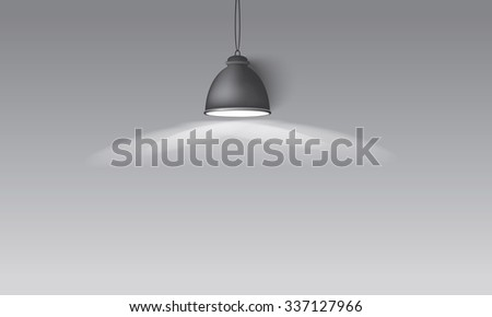 Illustrated gray background with hanging lighting lamp great room space for your abstract design - stock vector