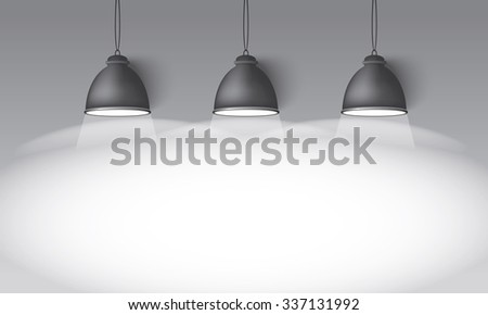 Illustrated gray background with three hanging lighting lamps great room space for your abstract design - stock vector