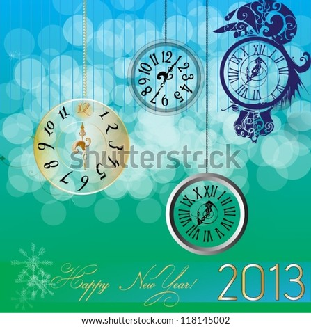 Illustrated greeting card for new years eve with clocks - vector illustration - stock vector