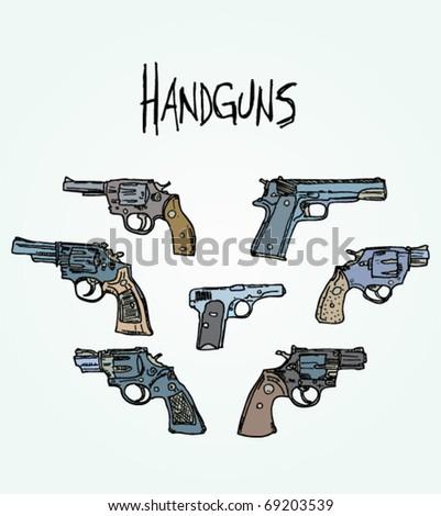 Illustrated Handgun Vector Set - stock vector