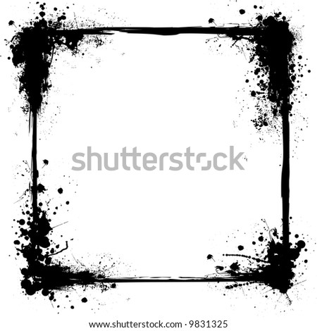 Illustrated ink frame in black and white with copy space