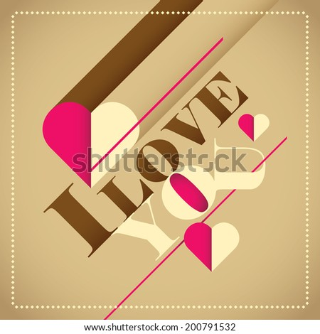 Illustrated love background. Vector illustration. - stock vector