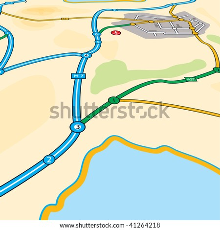 illustrated map drawn at a low perspective with town and water - stock vector