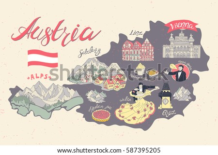 Illustrated Map Austria Attractions National Symbols Stock Vector