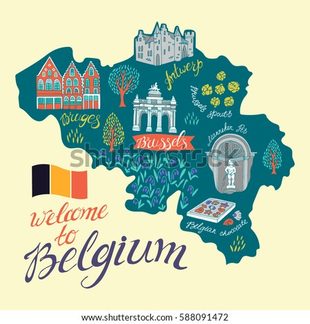 illustrated map of belgium attractions and national symbols of the country