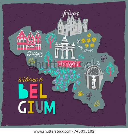 Illustrated Map Belgium Attractions National Symbols Stock Vector HD