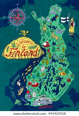 Illustrated Map Finland Travels Stock Photo Photo Vector