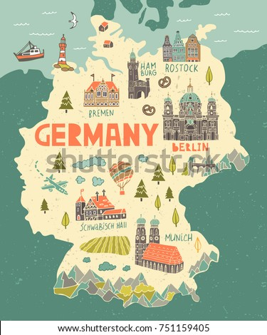 Illustrated Map Germany Travel Attractions Stock Vector 751159405