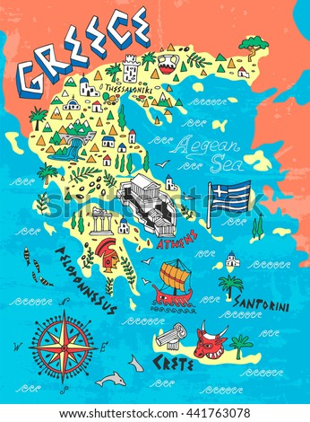 Illustrated Map Greece Travels Stock Vector Shutterstock - Map of greece