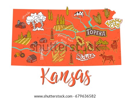 Ilrated Map Of Kansas Usa Travel And Attractions