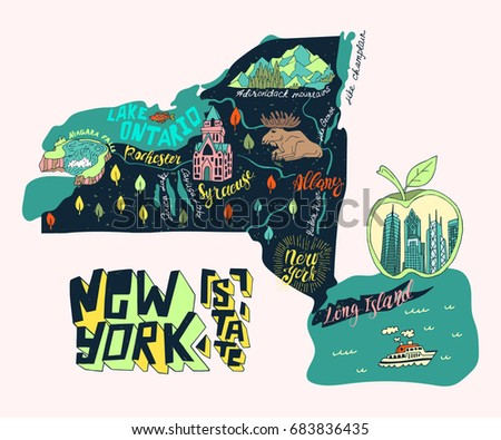 illustrated map of new york state usa travel and attractions