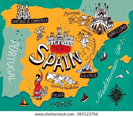 Illustrated Map of Spain - stock vector