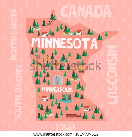 ilrated map of the state of minnesota in united states with cities and landmarks editable