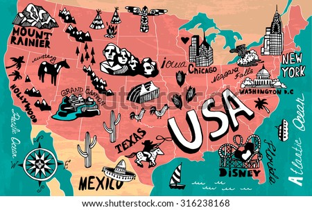 ilrated map of usa
