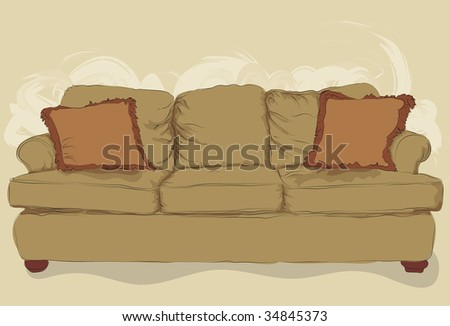 Illustrated messy styled hand drawn couch. Lineart, pillows, shading, fill and background elements are all on separate layers. Easy to change color of the couch. - stock vector