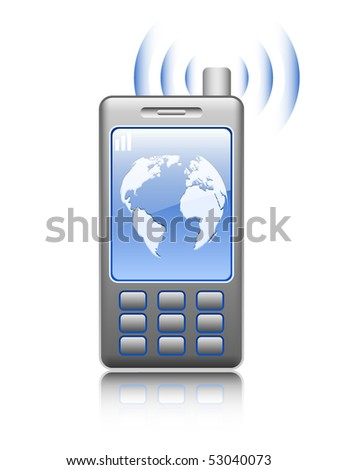 Illustrated mobile phone on white background, vector - stock vector