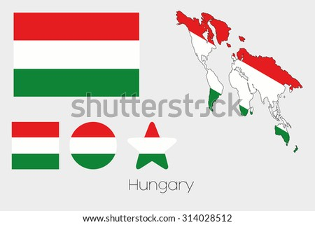 Illustrated Multiple Shapes Set with the Flag of Hungary