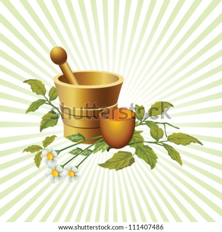 Illustrated natural herbalist products with cup and flowers, with beams background - stock vector