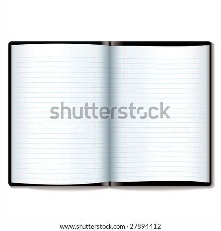 Illustrated open book or diary with room to add your own text - stock vector