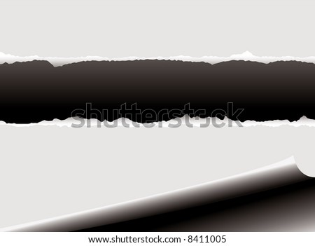 Illustrated page background with a rip through the middle and room for your own text - stock vector