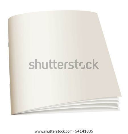 Illustrated paper back book with fan pages and shadow - stock vector