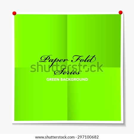 Illustrated paper background with folded elements and drop shadow and drawing pins - stock vector