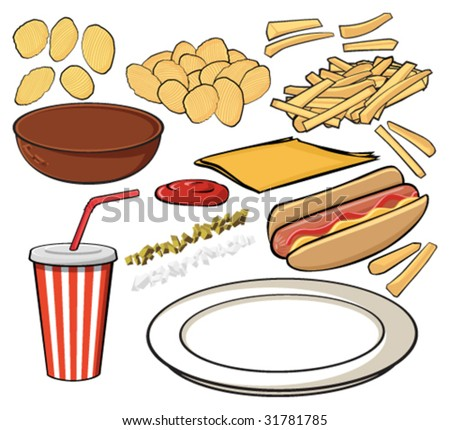 Illustrated pieces to assemble hot dog, french fries, potato chips and drink. - stock vector