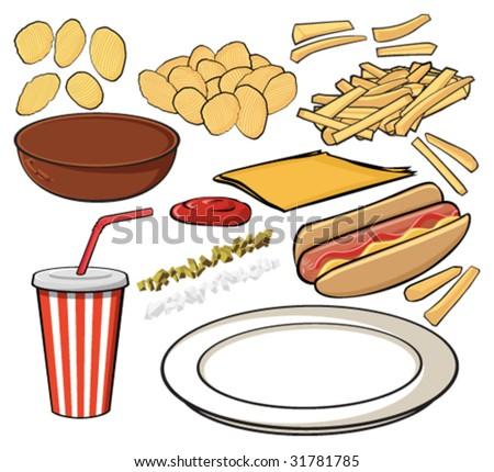 Hotdog And Chips Clipart Potato Cartoon Stock I...