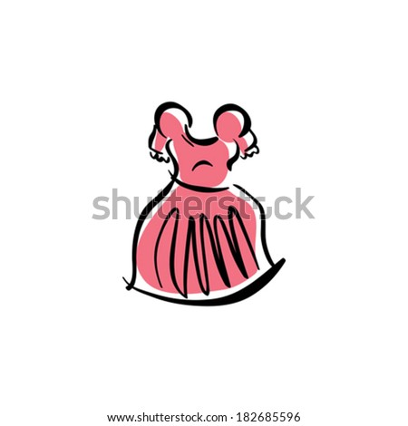 Illustrated pink dress, isolated hand drawn vector clothing. - stock vector