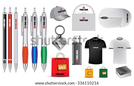 Illustrated promotion isolated vector objects, stationery for your clients - stock vector